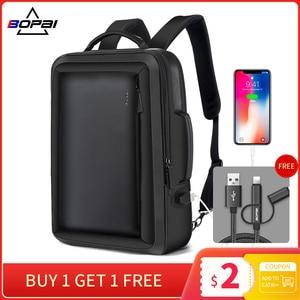 Image 1 - BOPAI Stylish Leather plecak for Men Fashion Mens Rucksack Backpack Solid Slim Men School Bags USB College School Backpack Black