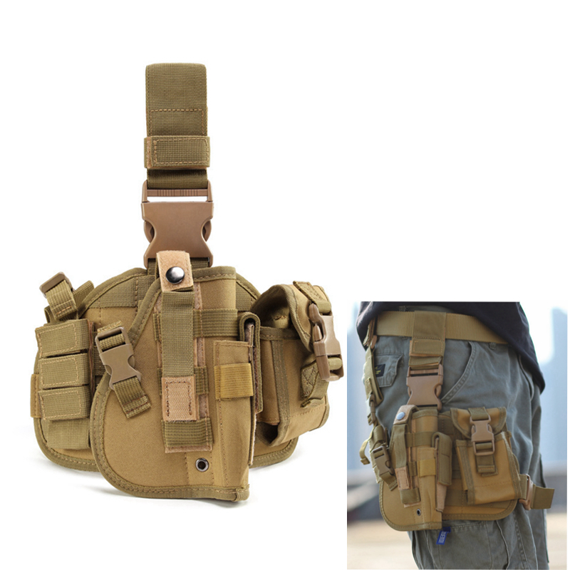 Tactical Leg Gun Holster Outdoor Army Multi-function Camouflage Bag Tied Leg Pistol Protective Cover Phone Pocket Hunting Gear