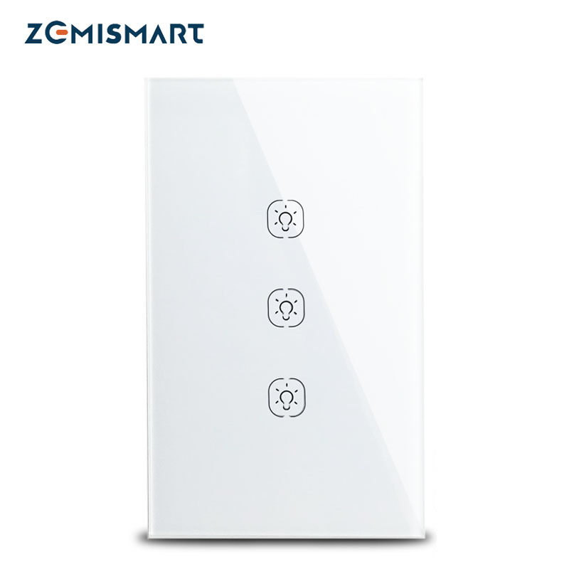 Zemisamrt Tuya Zigbee Switch No neutral US Interruptor Smart Life Remote Control Alexa Google Home Light switches 110-240v