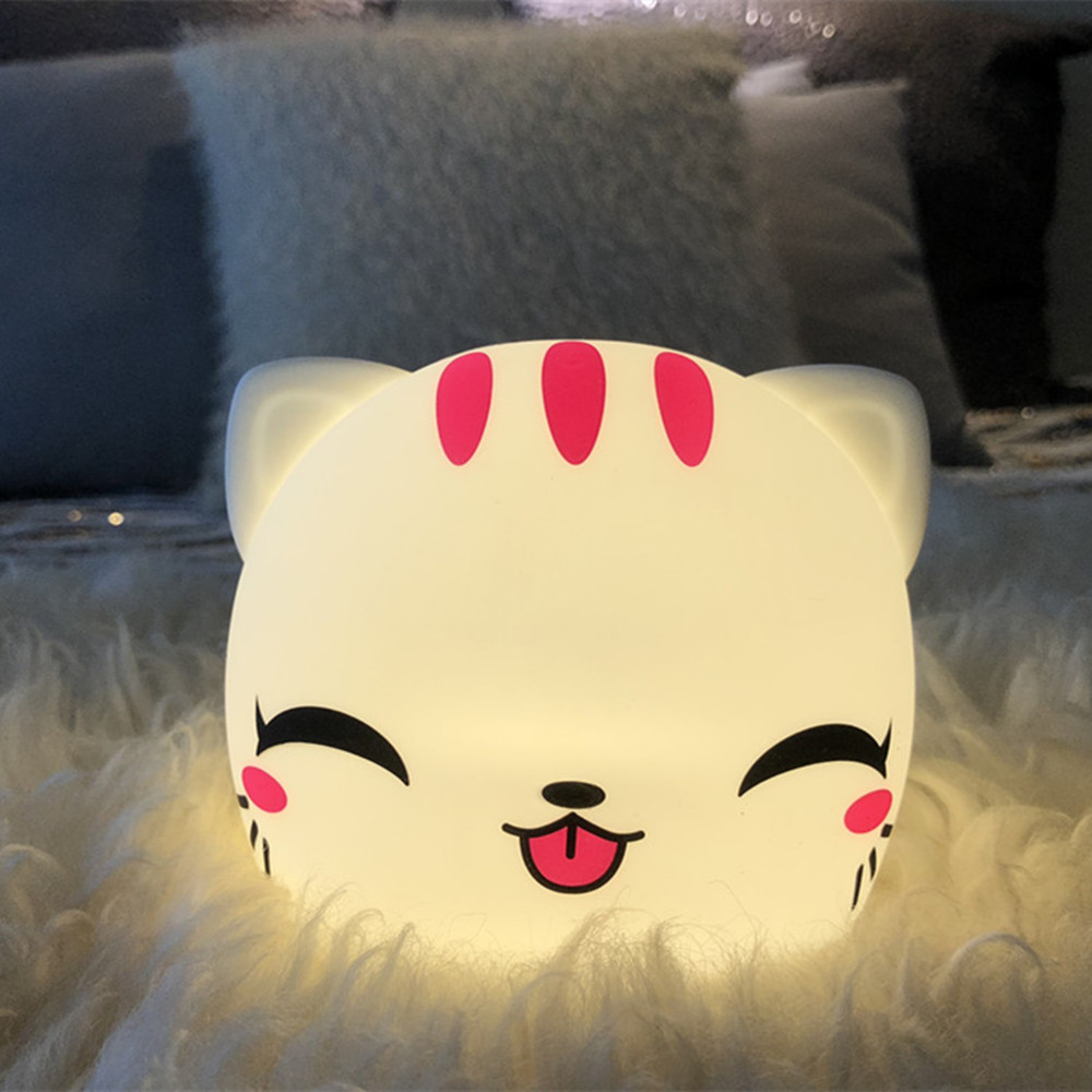 Cat Cow Rabbit Sheep Tiger LED Night Light Touch Sensor Colorful Battery Powered Silicone Bedroom Lamp