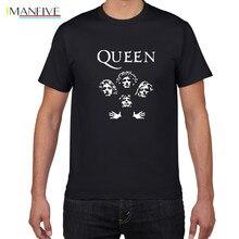 Glitter Rock Band Queen T Shirt Men Cool streetwear Pop rock T-shirt men Summer 100% Cotton Heavy Tops tees clothing