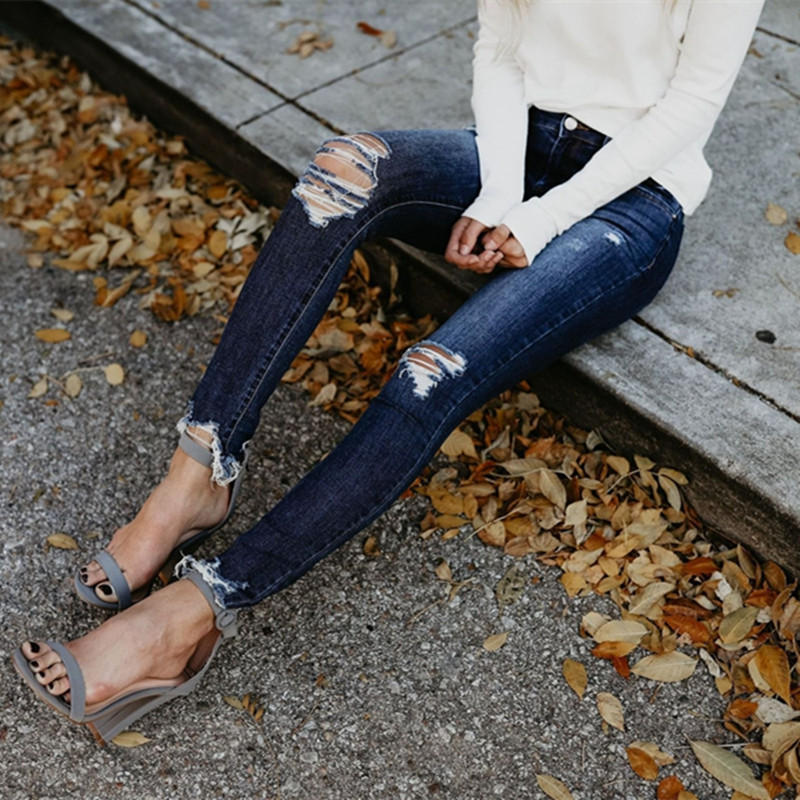 New High Waist Ripped Jeans Autumn Women Casual Denim Skinny Pants Lady Stretch Calca Jeans Boyfriend Jeans Push Up Pencil Jeans