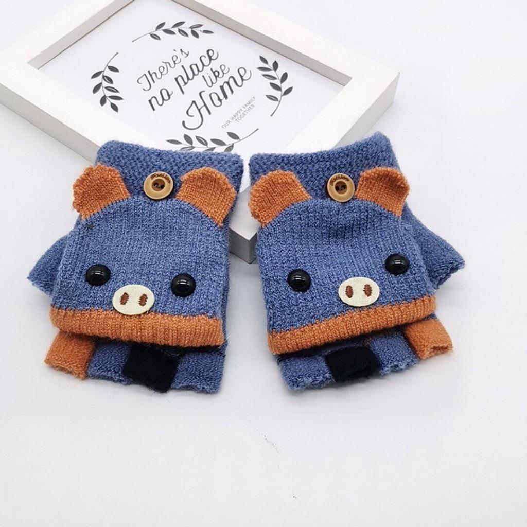 Детские зимние теплые вязаные варежки без пальцев, вязаные перчатки, удобные перчатки для девочек