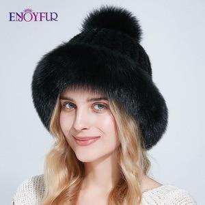 Image 5 - ENJOYFUR Doğal vizon kürk şapkalar kadınlar kış kalın sıcak tilki kürk kapaklar ponpon ile moda rus tarzı kasketleri