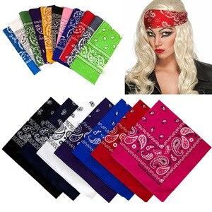 Women Men Scarf Headband Bandanas Square Head wrap Cotton Head Wrap Neck Wristband Handkerchief Black White Pink
