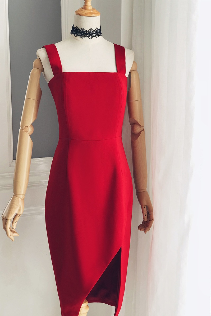 Red Cocktail Dresses Knee Length Formal Party Gowns Sexy Backless Sheath Side Slit Homecoming Dresses