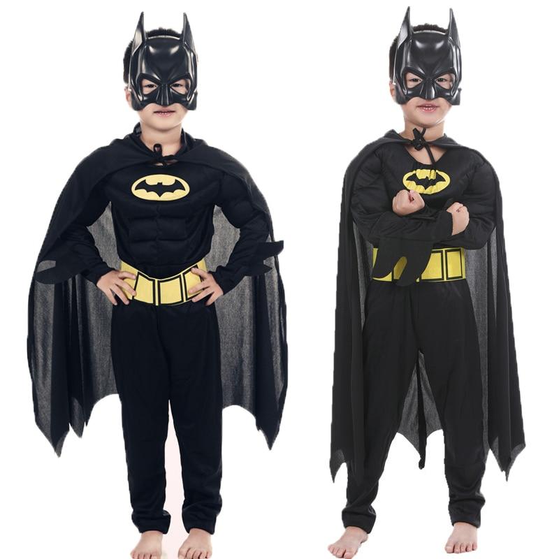 Children Vampire Muscle Batman Costumes & Masks Cape Boy Superhero Cosplay Halloween Masquerade Party Superman Costume