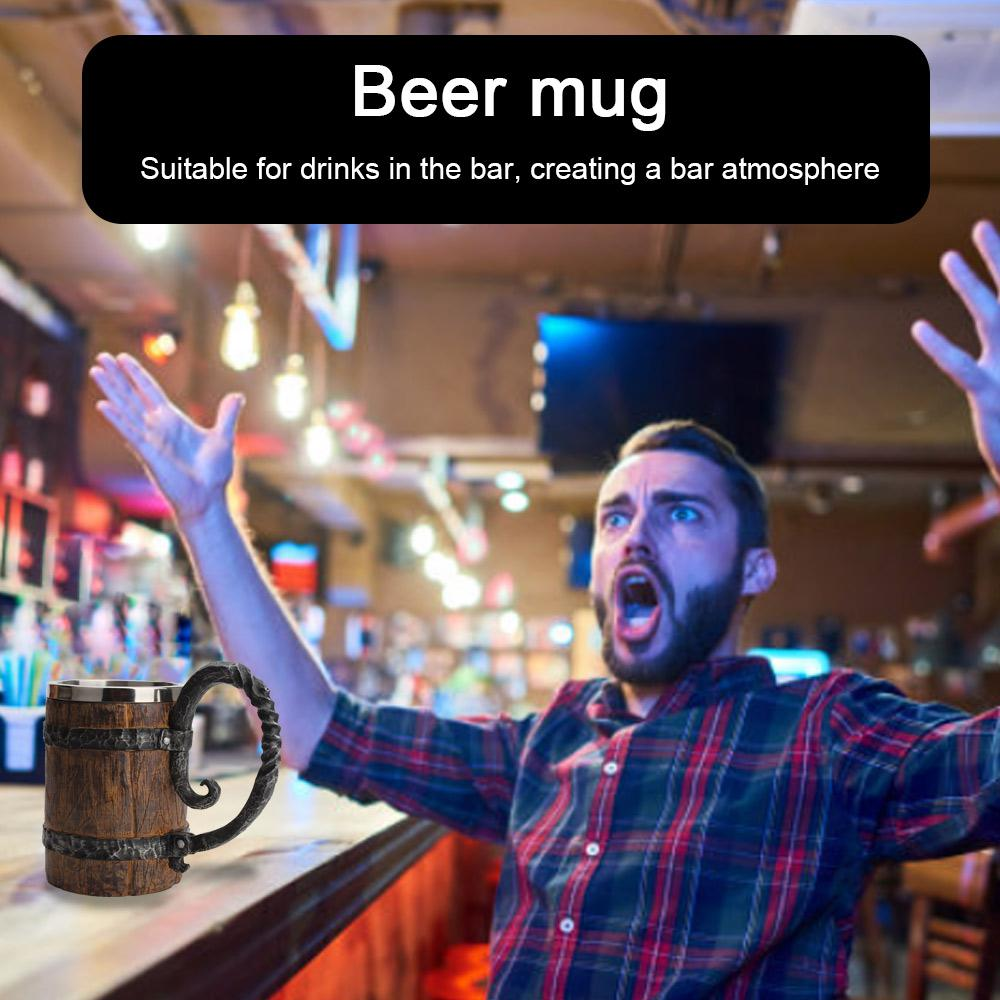 Cool Simulated Wooden Barrel Double Layered Beer Mug   Moon Discount