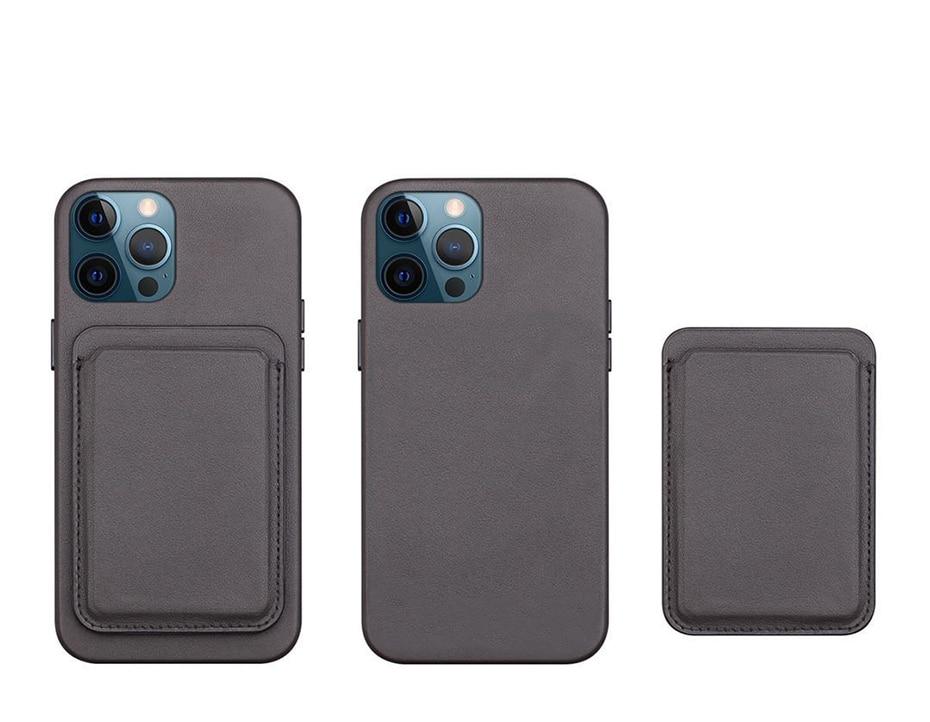 Original Leather Magnetic Card holder for iPhone 1212Mini12 Pro12 Pro Max Magsafe Case Back Wallet Card Pocket Holder (3)