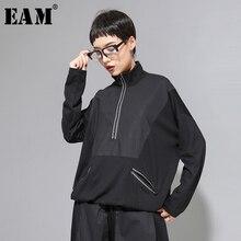 [EAM] Loose Fit שחור קו פיצול גדול גודל סווטשירט חדש גבוה צווארון ארוך שרוול נשים גודל גדול אופנה אביב סתיו 2020 1A530
