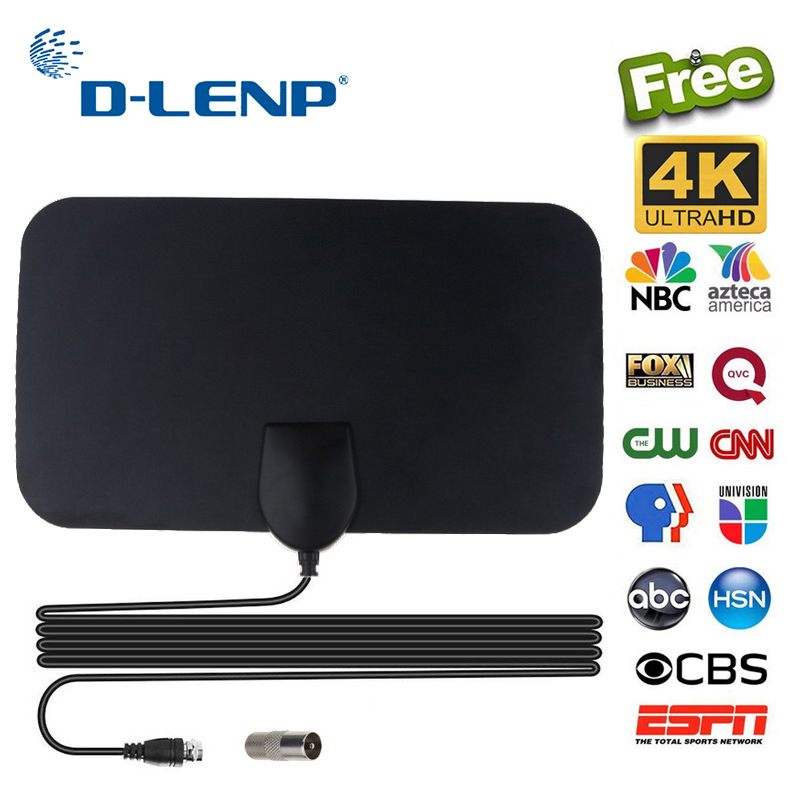 Dlenp High Gain HDTV Antenna 4K 25DB DVB-T Box Digital TV Antenna Booster Active Indoor Aerial For Distance 50 Miles