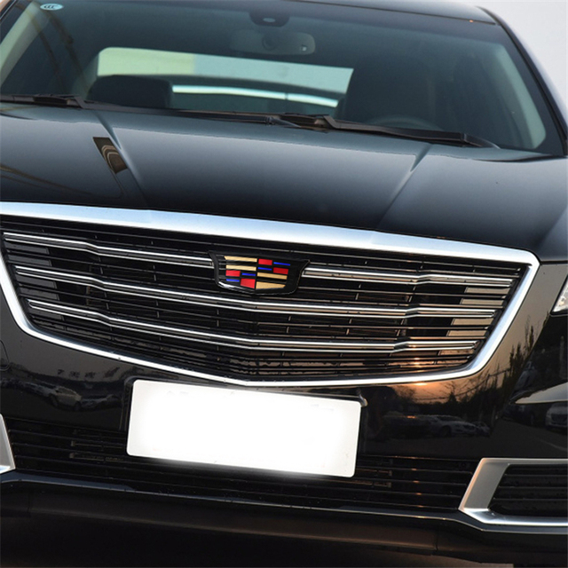 For Cadillac Logo XTS XT5 XT6 ATSL ABS Auto Front Grille Emblem Auto Tailgate Trunk Badge Chrome Exterior Sticker Accessories 4