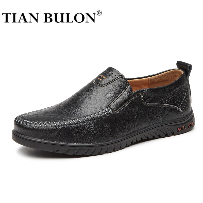 Italian Mens Shoes Casual Brands Genuine Leather Men Loafers Luxury Moccasins Breathable Slip On Boat Shoes Plus Size TIAN BULON
