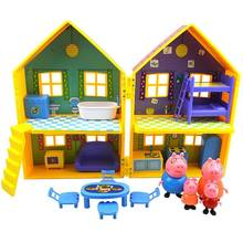 Original Peppa Pig juguete Villa Casa Familia George Pig mi-Dino de PVC de dibujos animados figuras de Anime juguetes de los niños para los niños regalos de navidad