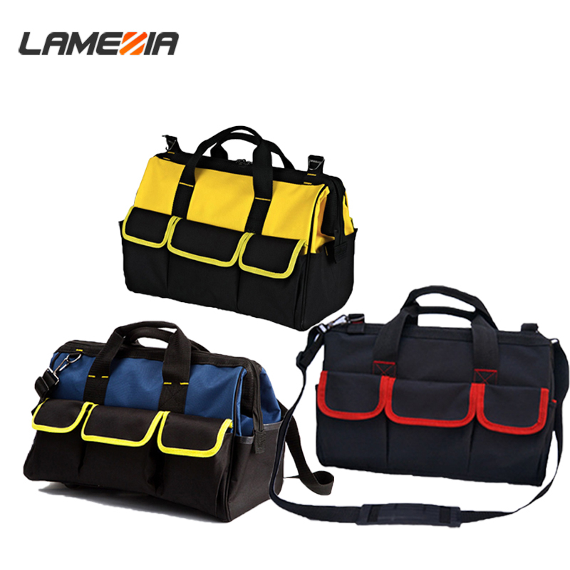 LAMEZIA High Quality Toolkit  Multi-purpose Electrician Single Shoulder 19 Pockets Large Capacity Thicken Professional Tool Bag