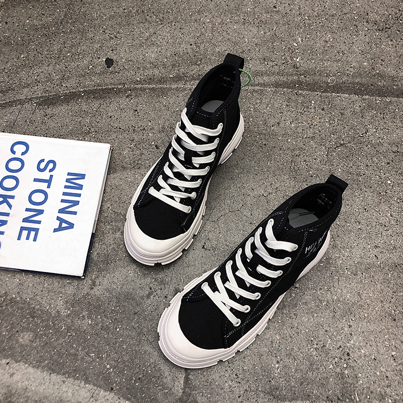 YeddaMavis Black High Top Canvas Shoes Daddy Shoes Women Sneakers Women Shoes New Korean Lace Up Womens Shoes Woman Trainers in Women 39 s Vulcanize Shoes from Shoes