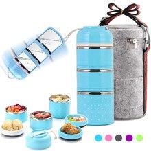 Caixa de almoço à prova de vazamento de três camadas exterior bento portátil recipiente de armazenamento de alimentos conjunto de balão de aço inoxidável para crianças da escola