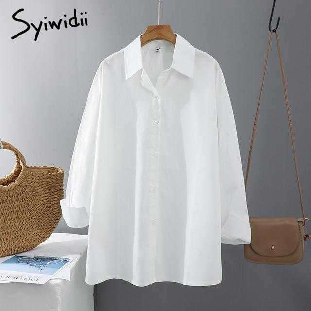 Syiwidii Women Blouses Office Lady Cotton Oversize Plus Size Tops Pink White Blue Long Sleeve 2021 Spring Korean Fashion Shirts 2