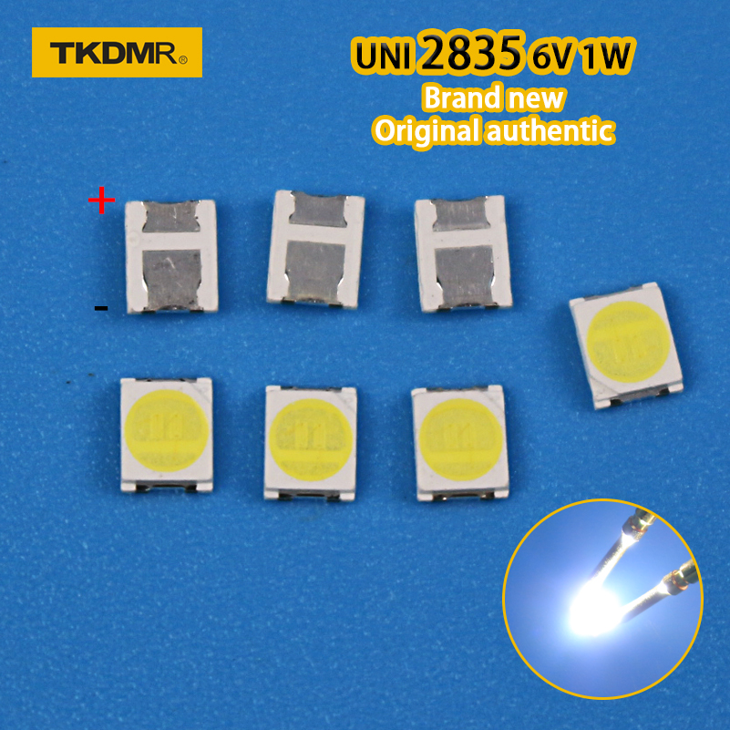 TKDMR 30pcs Original UNI LED 3528 2835 1210 Light Beads High Power 1W 6V Cool White For LED LCD TV Backlight Application