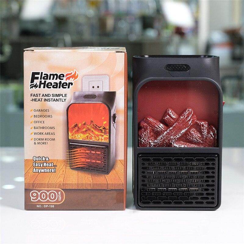 900W Mini Electric Wall-outlet Flame Heater EU Plug-in Air Warmer PTC Ceramic Heating Stove Radiator Household Wall Handy Fan
