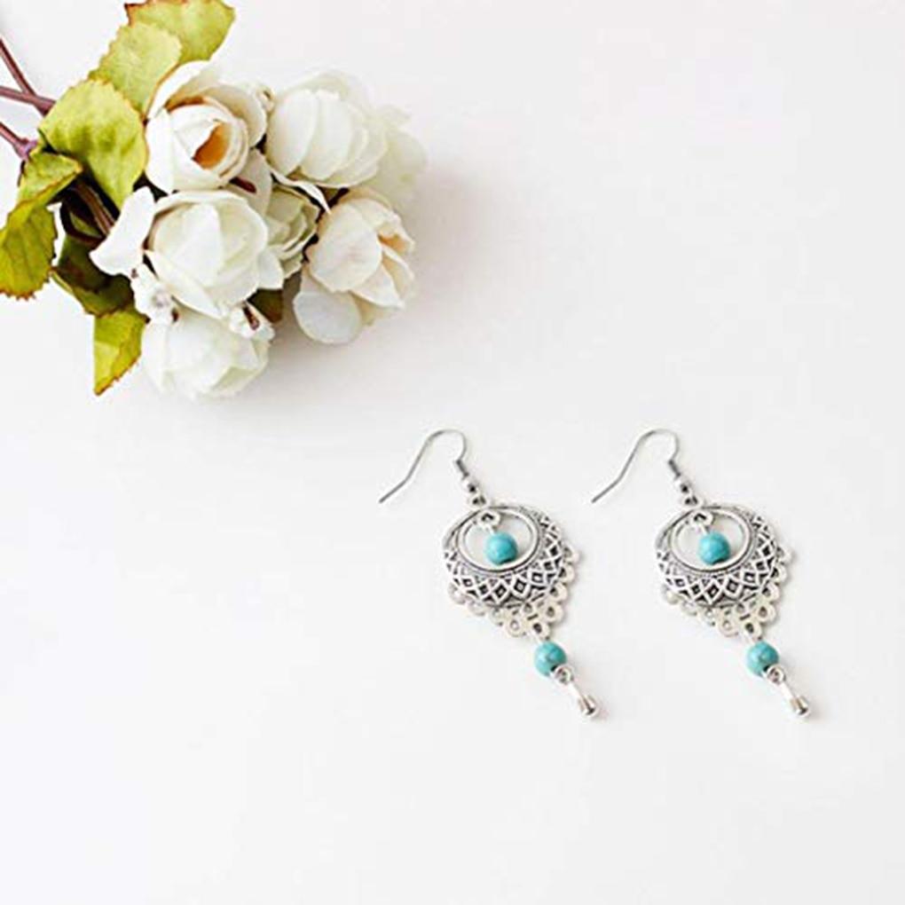 Retro Calaite Gemstones Hollow Ethnic Style Dangle Long Water Drop Earring Ear Stud For Travel Dangle Earrings Fashion Accessory