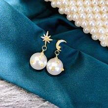 Женские винтажные серьги подвески с жемчугом и Луной