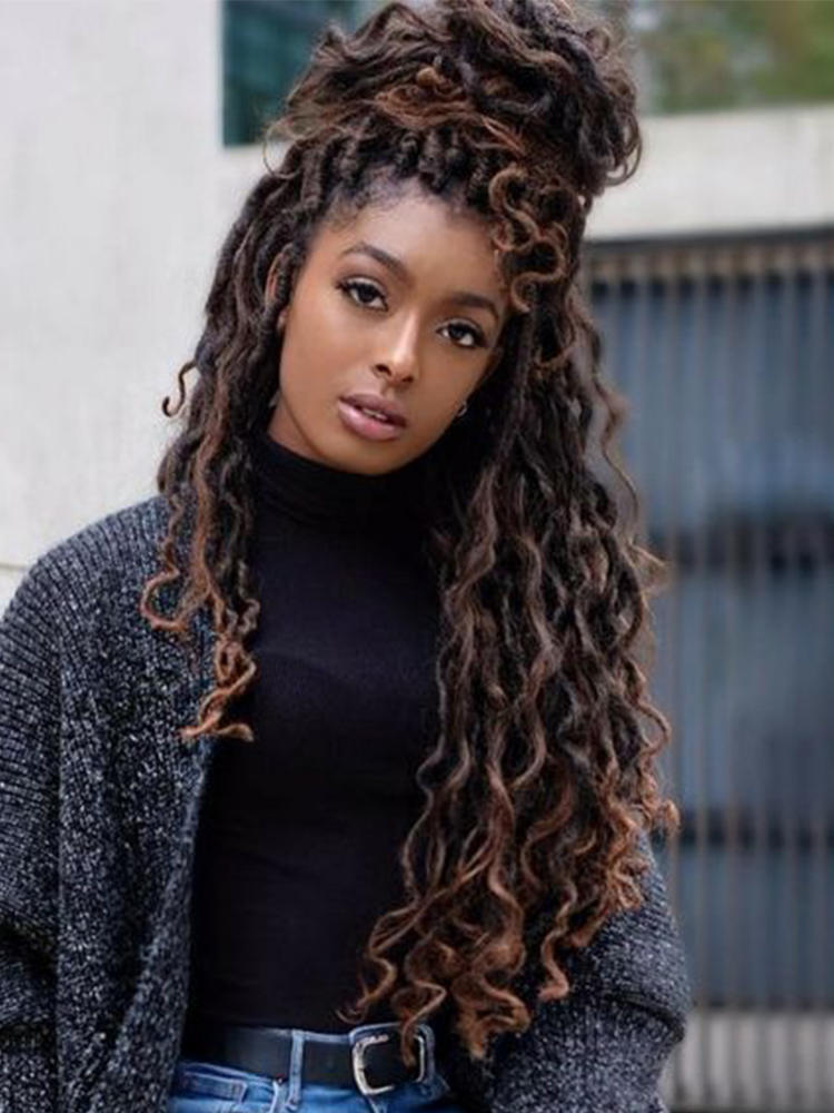 Hair-Passion Braids Crochet Curly Twist-River Brown Faux-Locs Goddess Synthetic Ombre