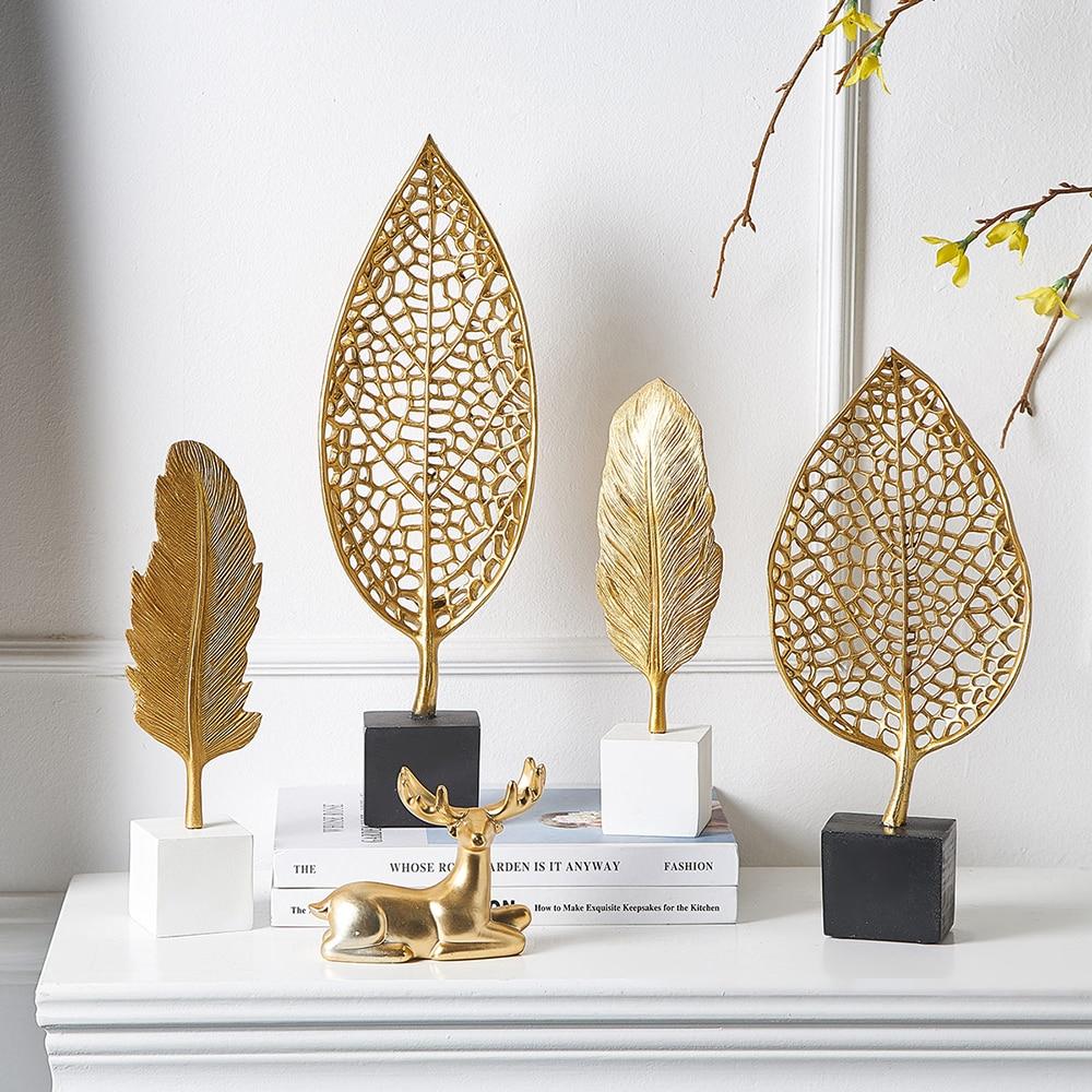 Европейская модель листьев, статуя, домашний декор, современная абстрактная скульптура, украшение для офиса и стола, для гостиной из смолы, ...