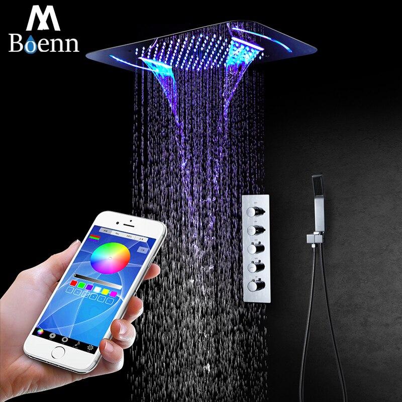 Lumière LED de pluie pomme de douche cascade pomme de douche brumeuse thermostatique robinet de douche mélangeur intégré au plafond ensemble de douche