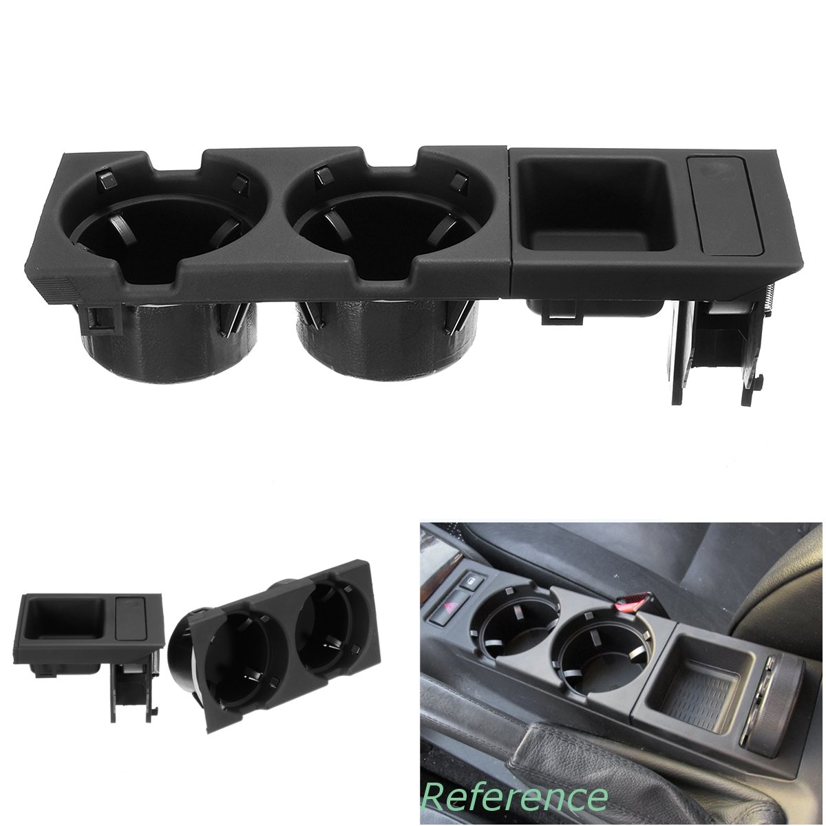 Black Double Hole Car Vehicle Front Center Console Storage Box Coin + Cup Holder for BMW E46 3SERIES 1999-2006 51168217957