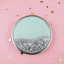 Mini Makeup Mirror Compact Pocket Mirror Portable Double-Sided Folding Cosmetic Mirror Female Gifts With Flowing Sparkling Sand engrave letters free bling crystal mini beauty pocket mirror makeup compact mirror pearl sunflower stainless steel wedding gifts