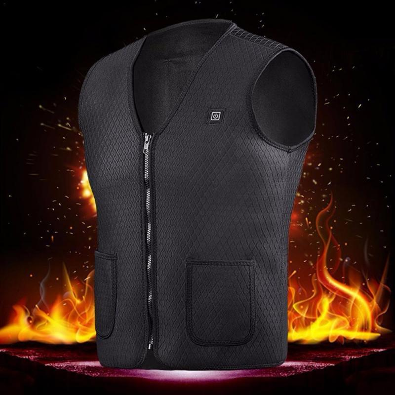 2019 Upgraded USB Infrared Heating Vest Jacket Winter Carbon Fiber Electric Thermal Clothing Waistcoat Winter Warmer Clothes