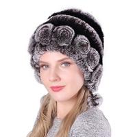Winter Fur Hats for Women Real Rex Rabbit cap plush kniting female warm wool ball knit ladies beanie elegant princess hat