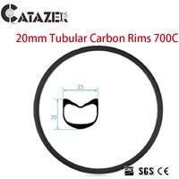 700C Bicycle Rims 20mm Tubular Full Carbon Fiber Road Bike Rims Triathlon TT Cyclocross Basalt Brake Customized 1 PC