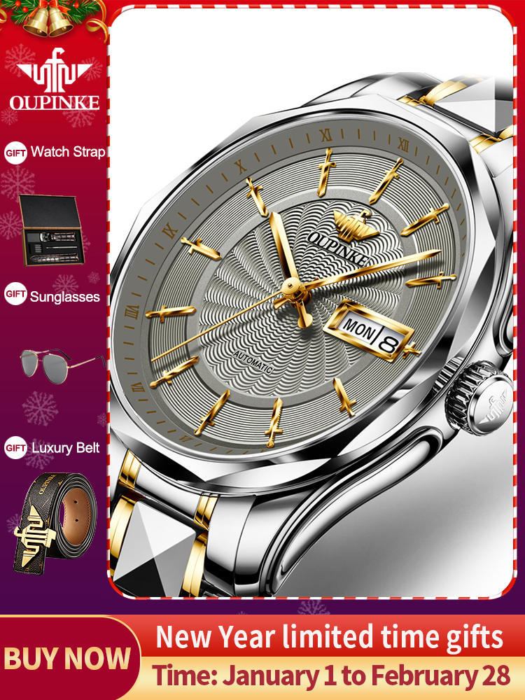 Men Watch Mechanical-Watches OUPINKE Waterproof Top-Brand Luxury Automatic Relogio