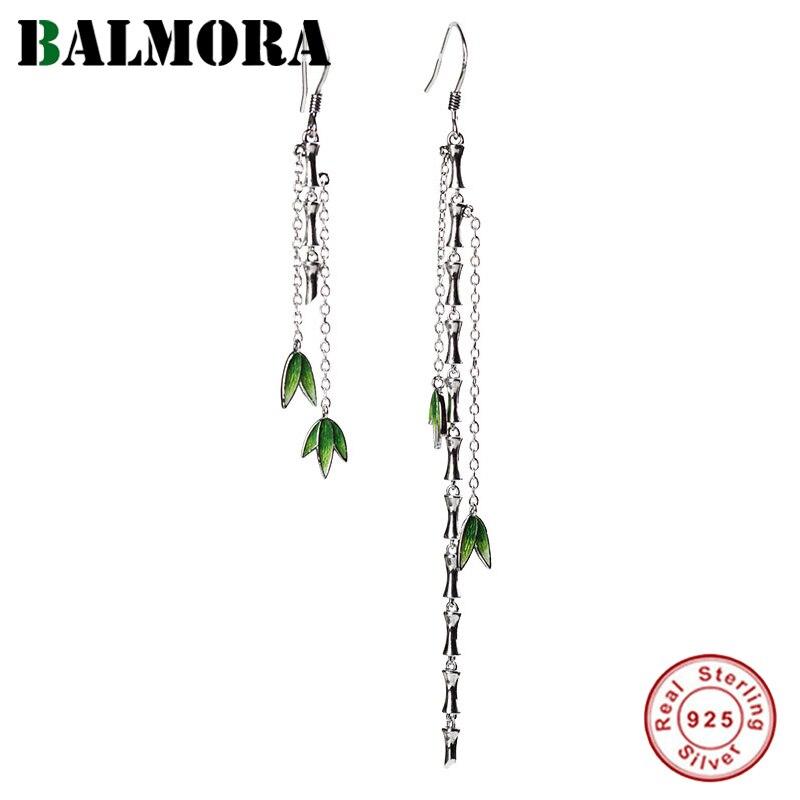 Женские Романтические серьги подвески BALMORA из стерлингового серебра 925 пробы с бамбуковыми листьями и кисточками, Подарочные элегантные модные эмалированные ювелирные изделия|Серьги|   | АлиЭкспресс