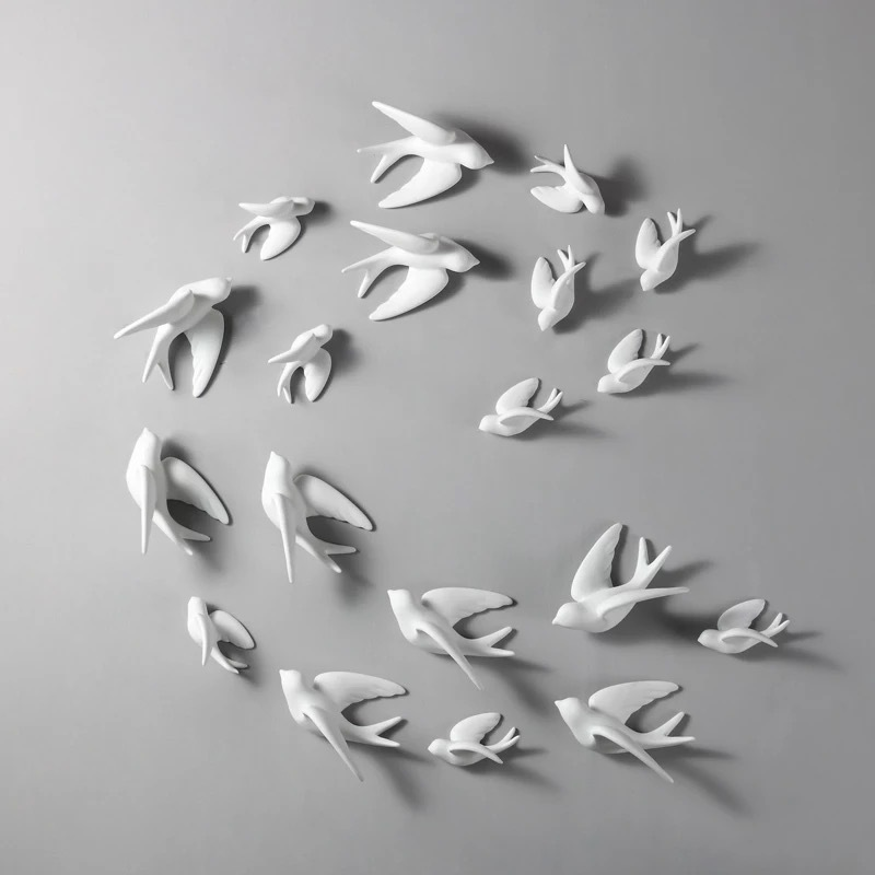 1pc 3D Ceramic Birds Murals Wall Sticker Hanging European Decorations Crafts Home Living Room Decor Ornaments P7Ding