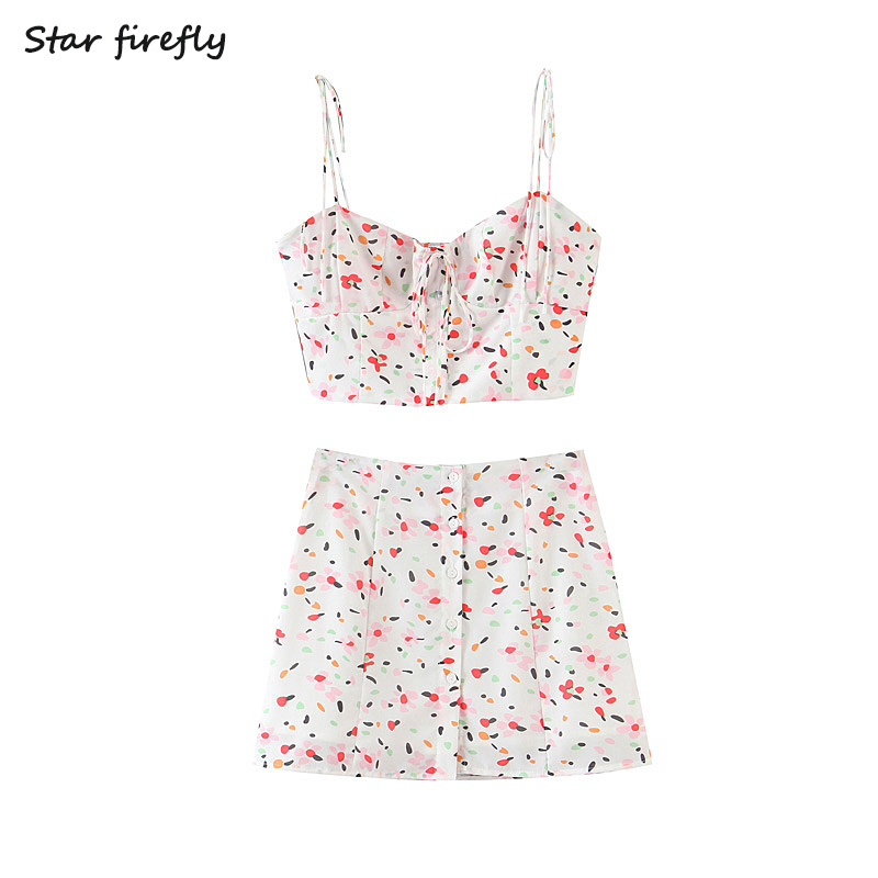 Star Firefly Fashionable Sexy Beach Suit Female 2020 Vacation Style Slim Tube Top Printed Waist High Waist Mini Skirt Women