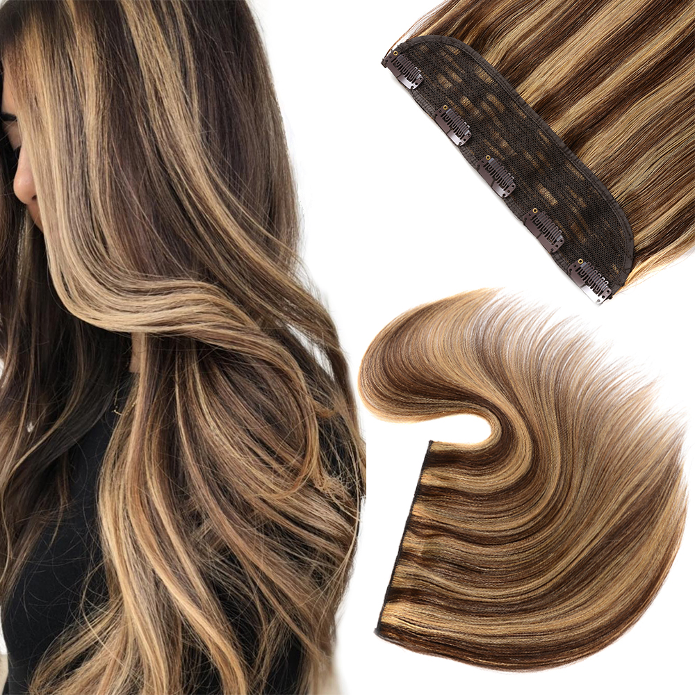 Doreen Machine Made Remy Hair Caramel Brunette Balayage One Piece Clip In 100% Human Hair Extensions Natural Straight Hair
