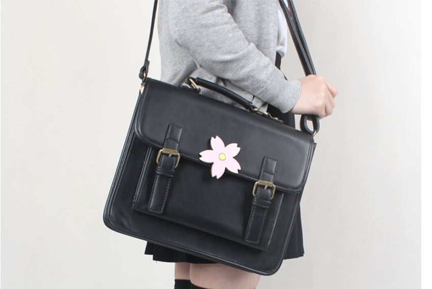 Japanese Style Sweet Leather Backpack Teenages Fashion Sakura Uniform Bag Vintage Unisex Tote Commuter Bags Mochila DF146