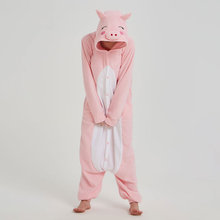 Women Onesie Animal Jumpsuit Pig Kigurumi Pink Cute Festival Party Outfit Adult Home Pajama Polar Fleece Loose Funny Overalls