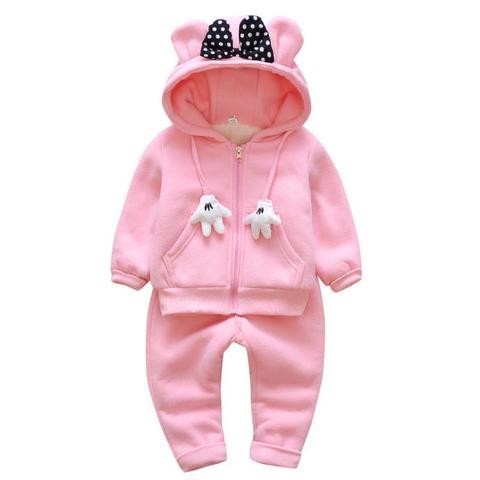 inverno meninas conjuntos de roupas de veludo mickey manga comprida manter quente com capuz calcas