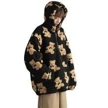 Women Winter Faux Fur Zipper Hoodies Cute Cartoon Bear Graphic Printed Fuzzy Warm Sweatshirt Harajuku Oversized Loose Top