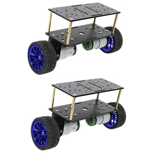 2xDouble-deck 2 W Robot Car Chassis DIY Kits Intelligent Engine    Blue