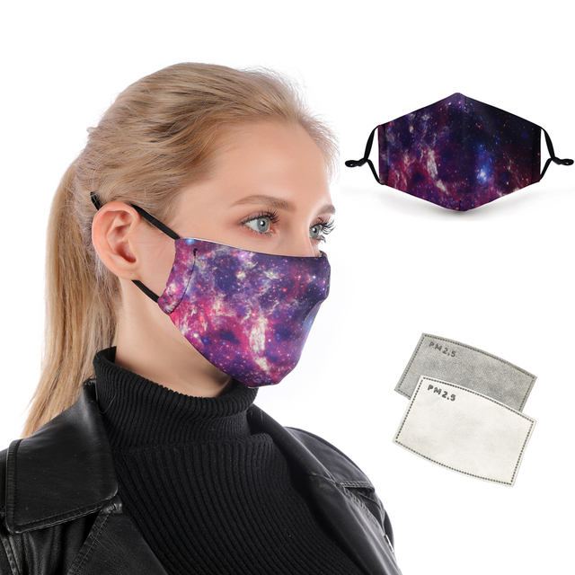 Zohra Starry Sky Printing Reusable Protective PM2.5 Filter mouth Mask anti dust Face mask bacteria proof Flu Mask dropshipping