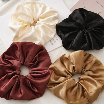 Satin Silk Hair Rope Oversized Scrunchies Rubber Band Solid Hair Ties Women Girls Elastic Hair Bands Ponytail Hair Accessories high resilience seamless hair rope new rubber band hair accessories gum girls women ponytail elastic hair bands headwear
