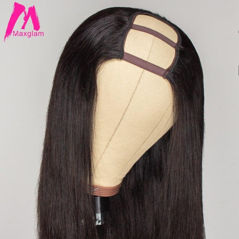 U Part Wig Straight Short Wigs Long For Black Women Pre Plucked Bleached Knots Brazilian Human Hair U Part Maxglam
