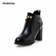 Small Yards:30 31 32 Plus:48 49 50 Winter shoes Woman Warm snow Boots 8cm thick heels Short boot Ladies Pointed Toe Buckle boots haraval handmade winter woman long boots luxury flock round toe soft heel shoes elegant casual warm retro buckle solid boots 289