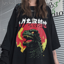 Lychee Harajuku Flame Dinosaur Print Black Women T-shirt Short Sleeve O-Neck