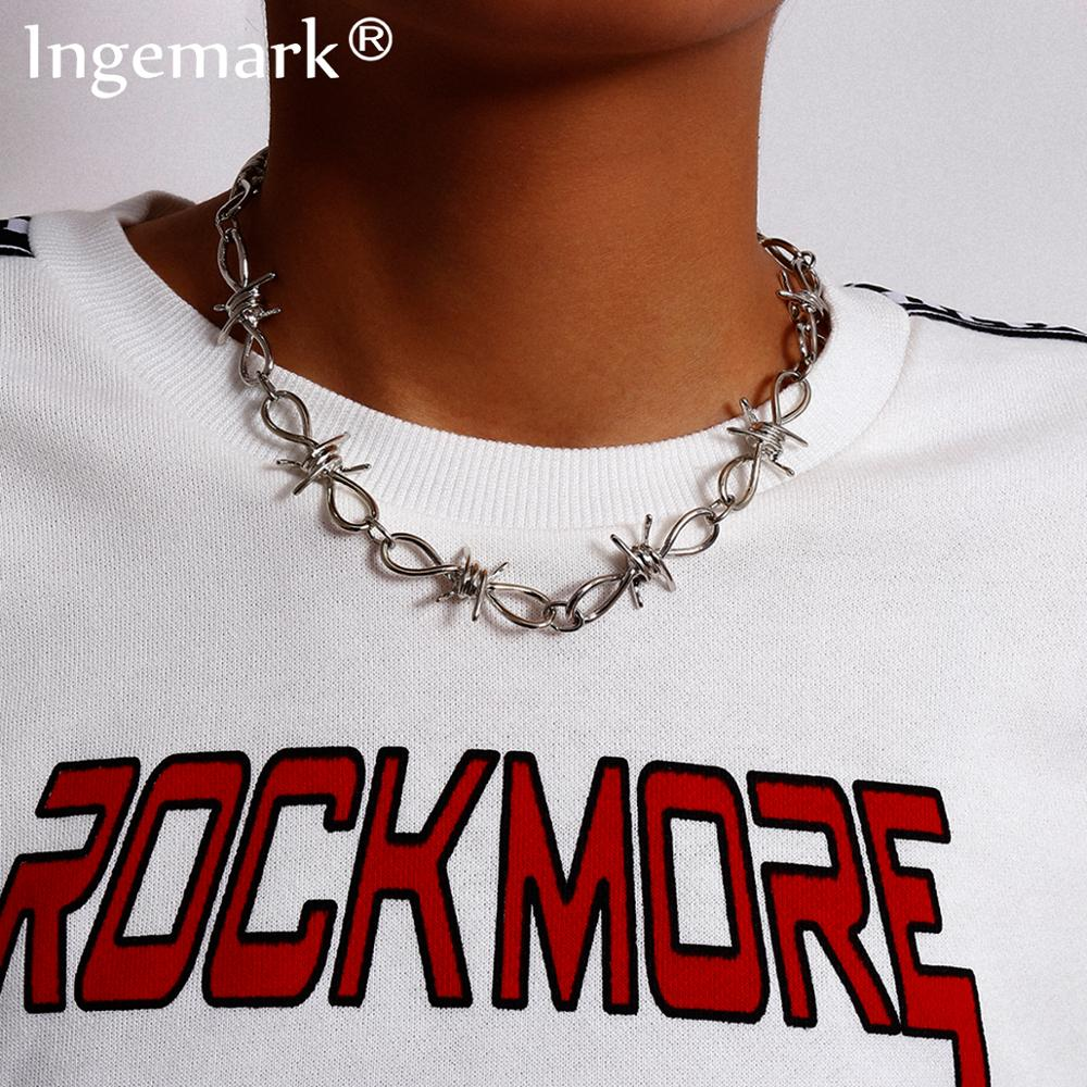 High Quality Gothic Barbed Wire Brambles Link Choker Necklace Women Collares Steampunk Chunky Thick Chain Necklace Men Jewelry